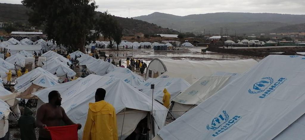 Moria 2.0 - the entire camp swamped by water after rain