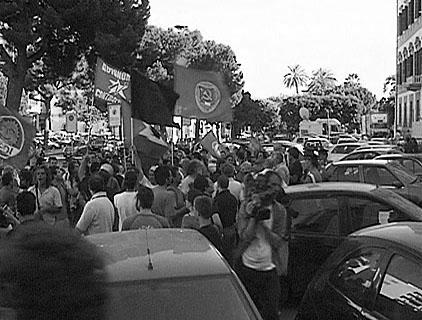 Demonstration in der Innenstadt von Agrigento/Sizilien ...