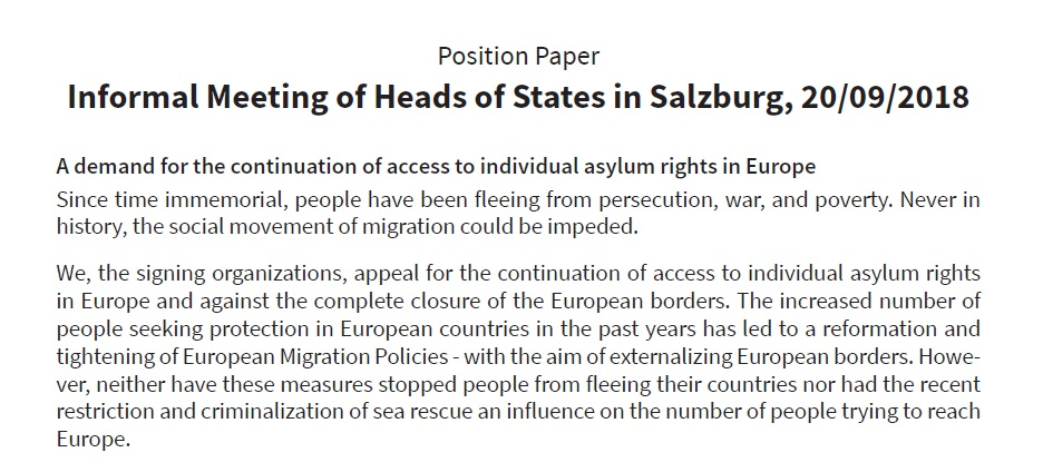 Position paper: For the continuation of access to individual asylum rights in Europe